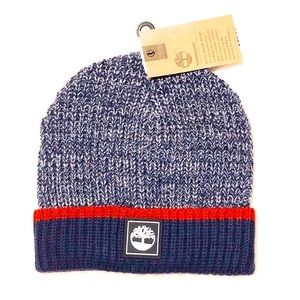 TIMBERLAND BEANIE HAT MARLED COLOR BLOCK NAVY NWT